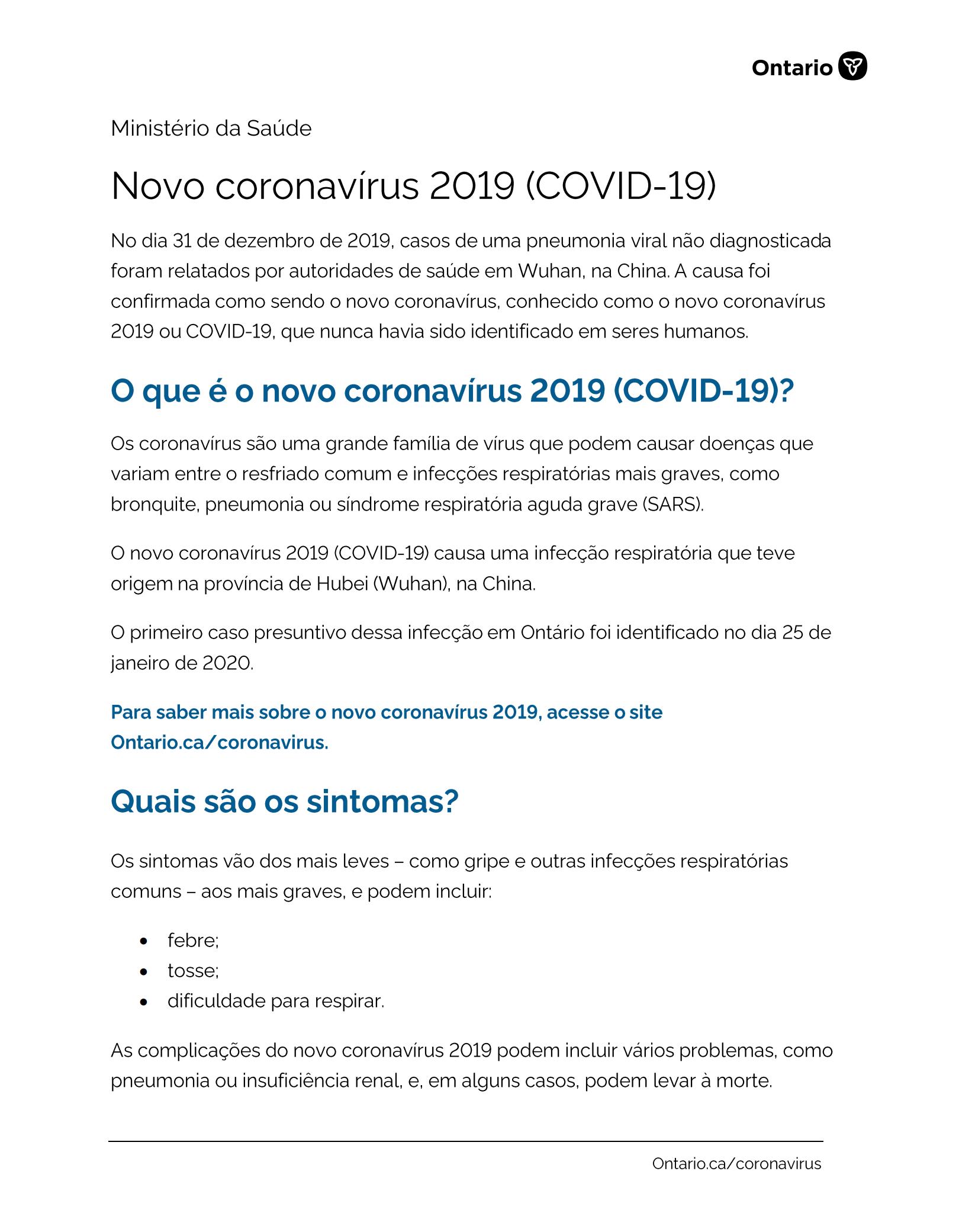 Coronavirus - COVID19- sintomas e prevenção